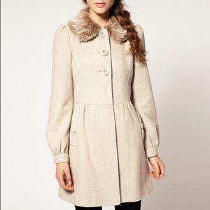 H&M Cream Wool Coat with Faux Fur Collar